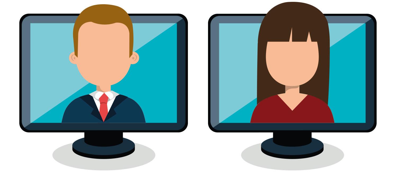 Auf zwei Bildschirmen werden jeweils ein Mann und eine Frau dargestellt, die den Betrachter direkt anschauen.