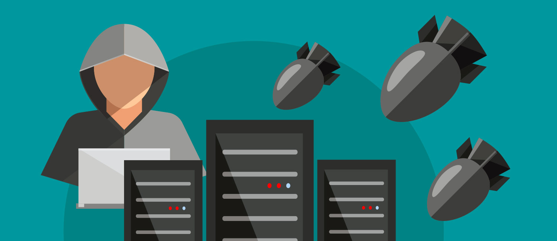 Symbolhaft wird ein Angriff auf eine IT-Infrastruktur dargestellt: Im Hintergrund ein Hacker, im Vordergrund Computer, darüber fallende Bomben.