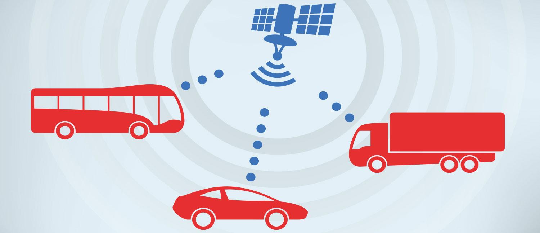 Ein Satellit ist per Funk mit verschiedenen Fahrzeugen (Bus, PKW, LKW) verbunden.