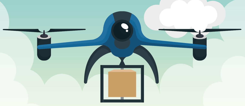 Eine Drohne transportiert ein Paket.