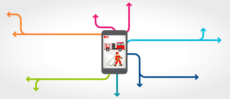 Mittels eines Smartphones wird ein Feuerwehreinsatz gefilmt und per Internet live verbreitet.