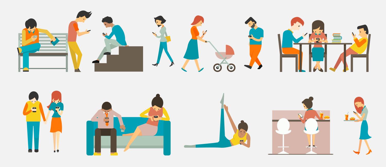 Das Smartphone ist immer dabei: Menschen bei verschiedenen Alltagstätigkeiten.